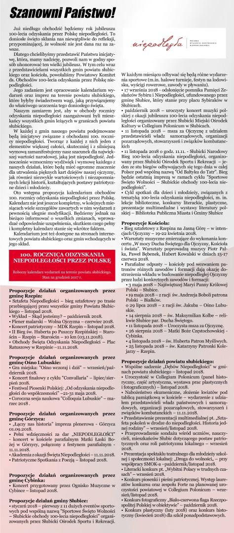 You are browsing images from the article: Obchody 100-lecia odzyskania przez Polskê niepodleg³o¶ci w powiecie s³ubickim - propozycje dzia³añ