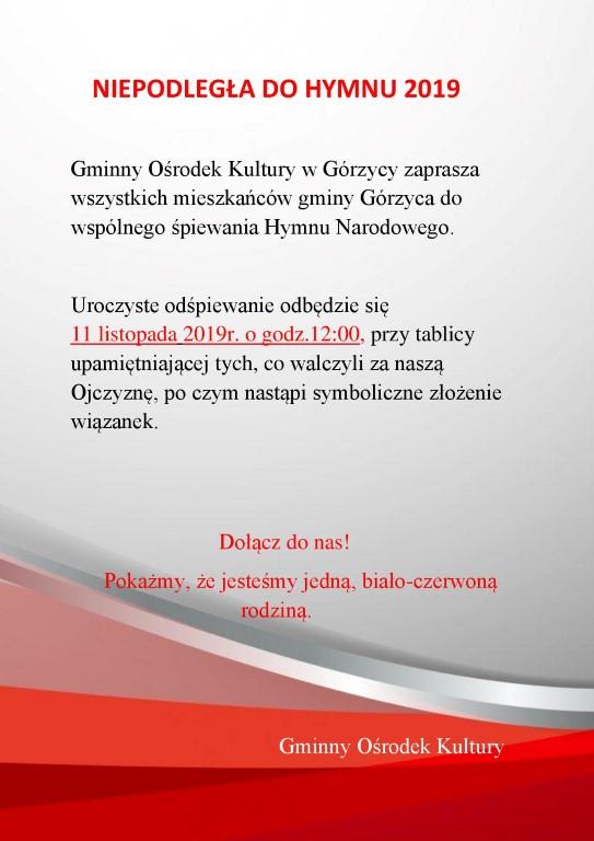 You are browsing images from the article: Zapraszamy wszystkich mieszkañców gminy Górzyca do wspólnego ¶piewania Hymnu Narodowego