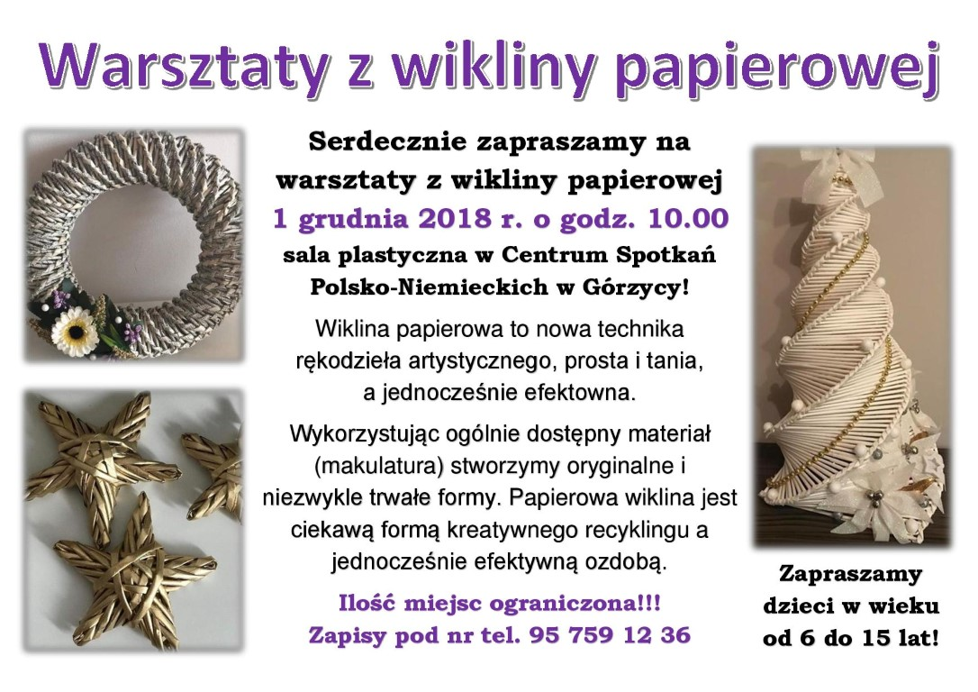 You are browsing images from the article: Warsztaty z wikliny papierowej!
